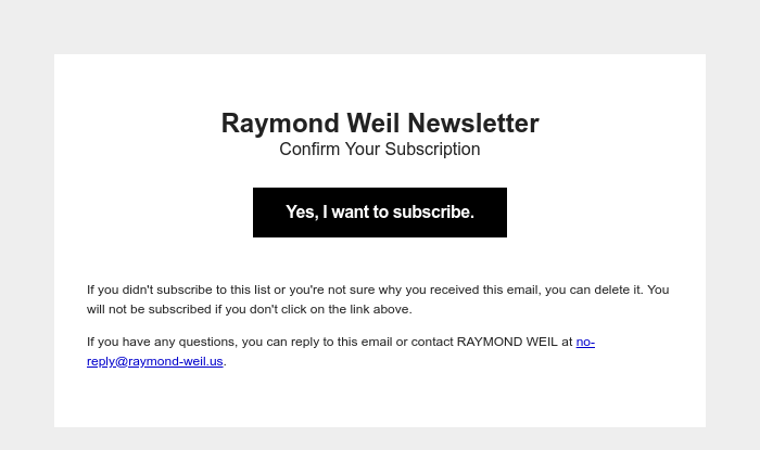 Screenshot of email sent to a Raymond Weil Registered user