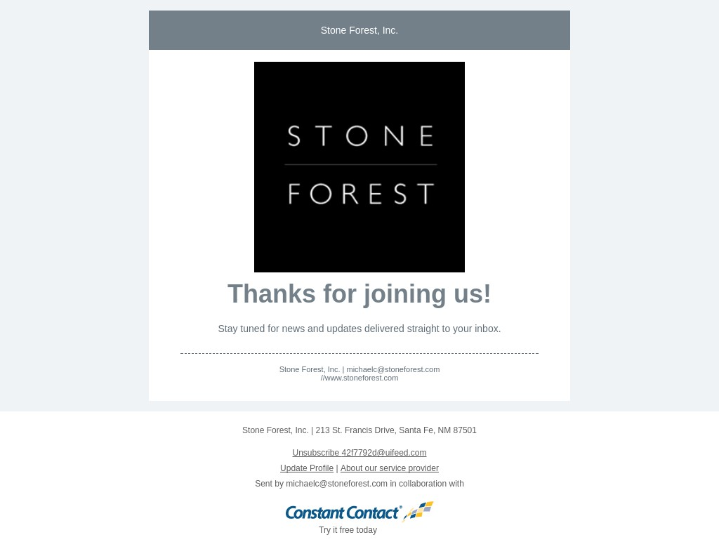 Screenshot of email sent to a Stone Forest Newsletter subscriber