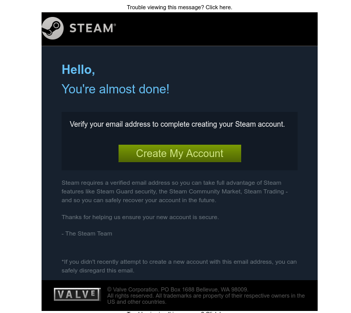 Screenshot of email sent to a Steam Registered user