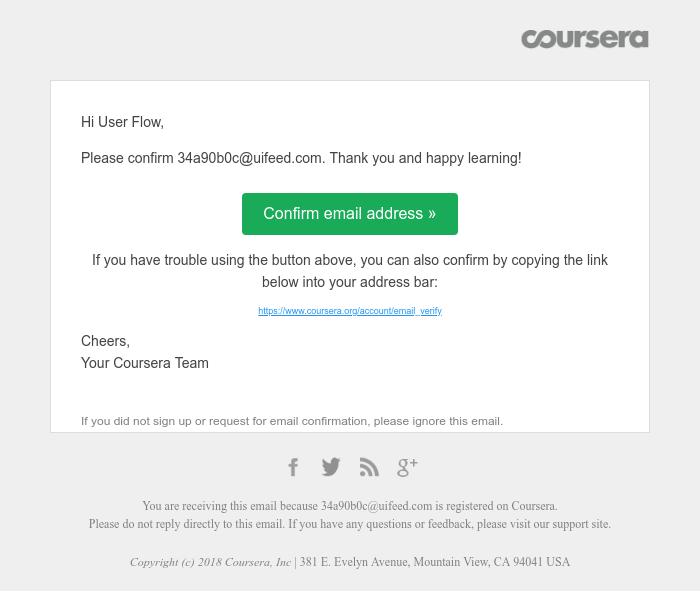 Screenshot of email sent to a Coursera Registered user