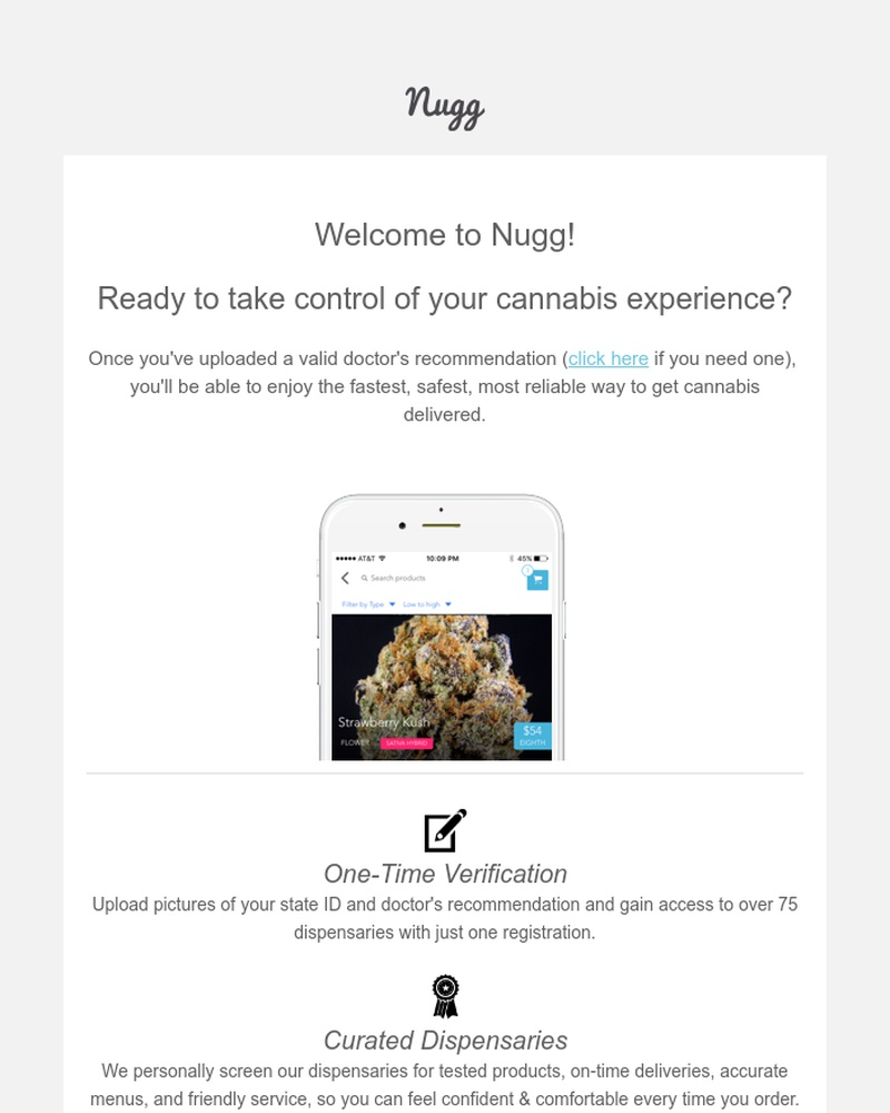 Screenshot of email sent to a Nugg Registered user