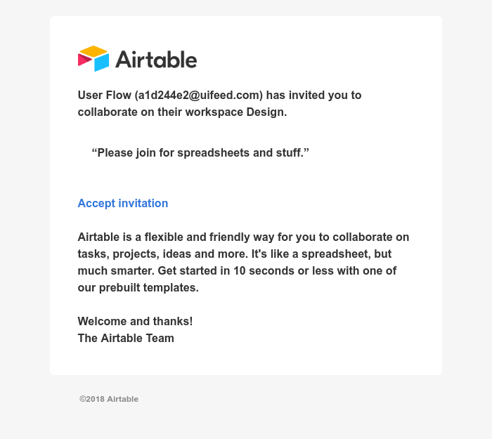Screenshot of email sent to a Airtable Invited user