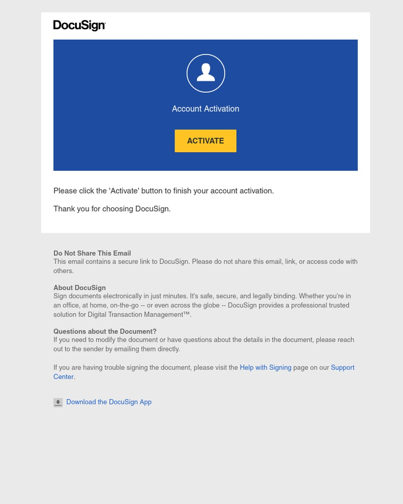 Screenshot of email sent to a DocuSign Trial user