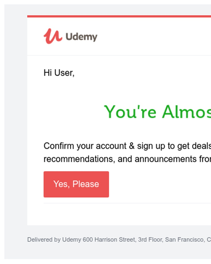 Screenshot of email sent to a Udemy Registered user
