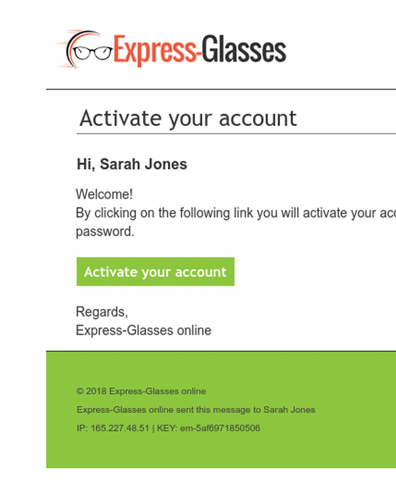Screenshot of email sent to a Express Glasses Registered user
