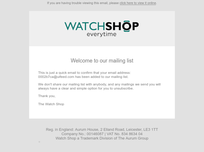 Screenshot of email sent to a Watch Shop Newsletter subscriber