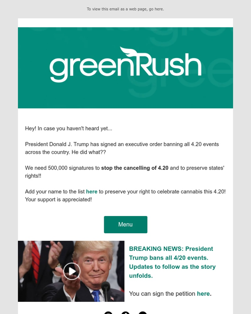 Screenshot of email sent to a GreenRush Registered user