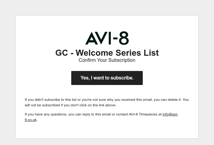 Screenshot of email sent to a AVI-8 Newsletter subscriber