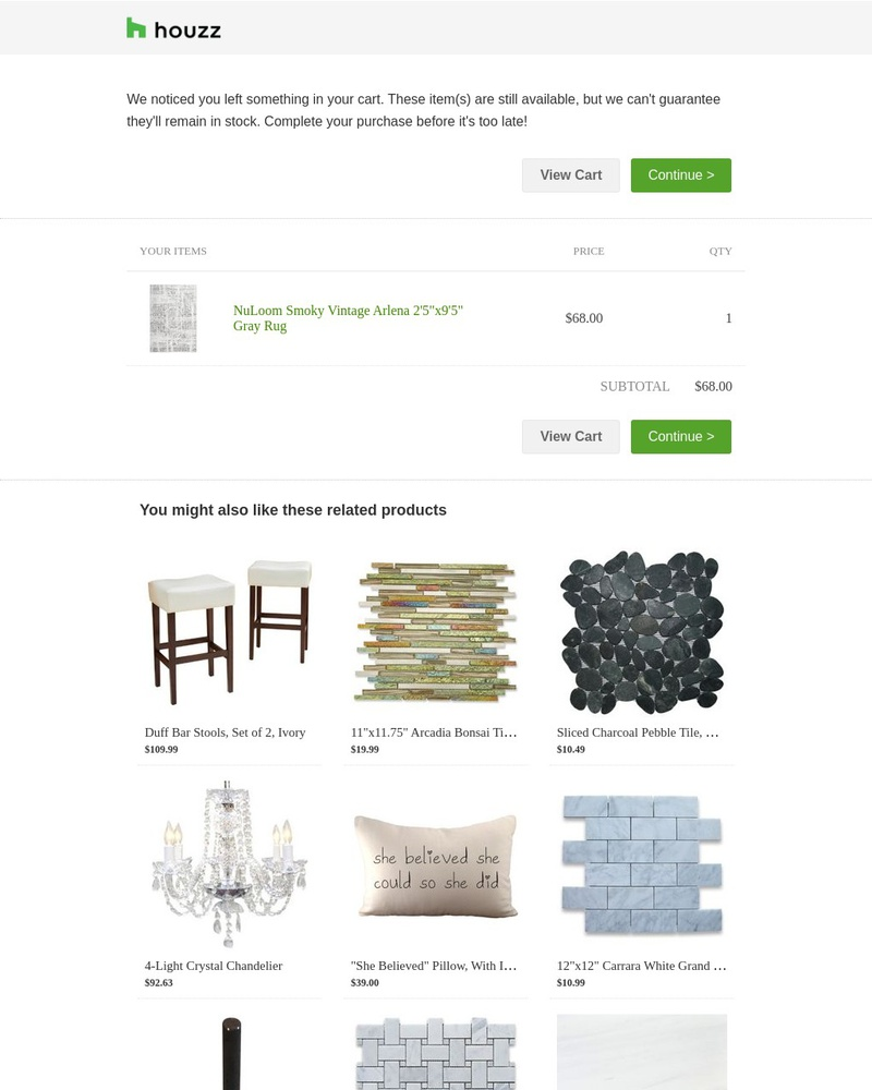 Screenshot of email sent to a Houzz Cart abandoner
