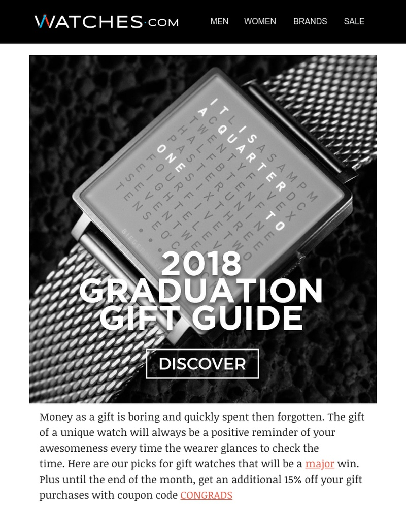 Screenshot of email sent to a Watches.com Newsletter subscriber