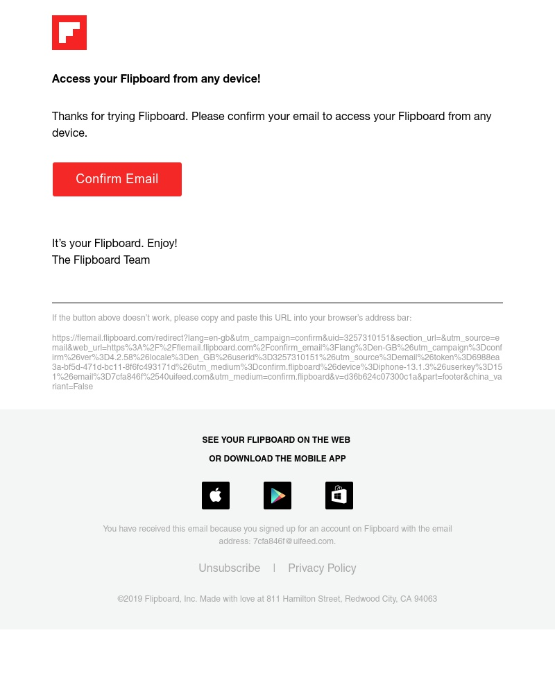 Screenshot of email sent to a Flipboard Registered user