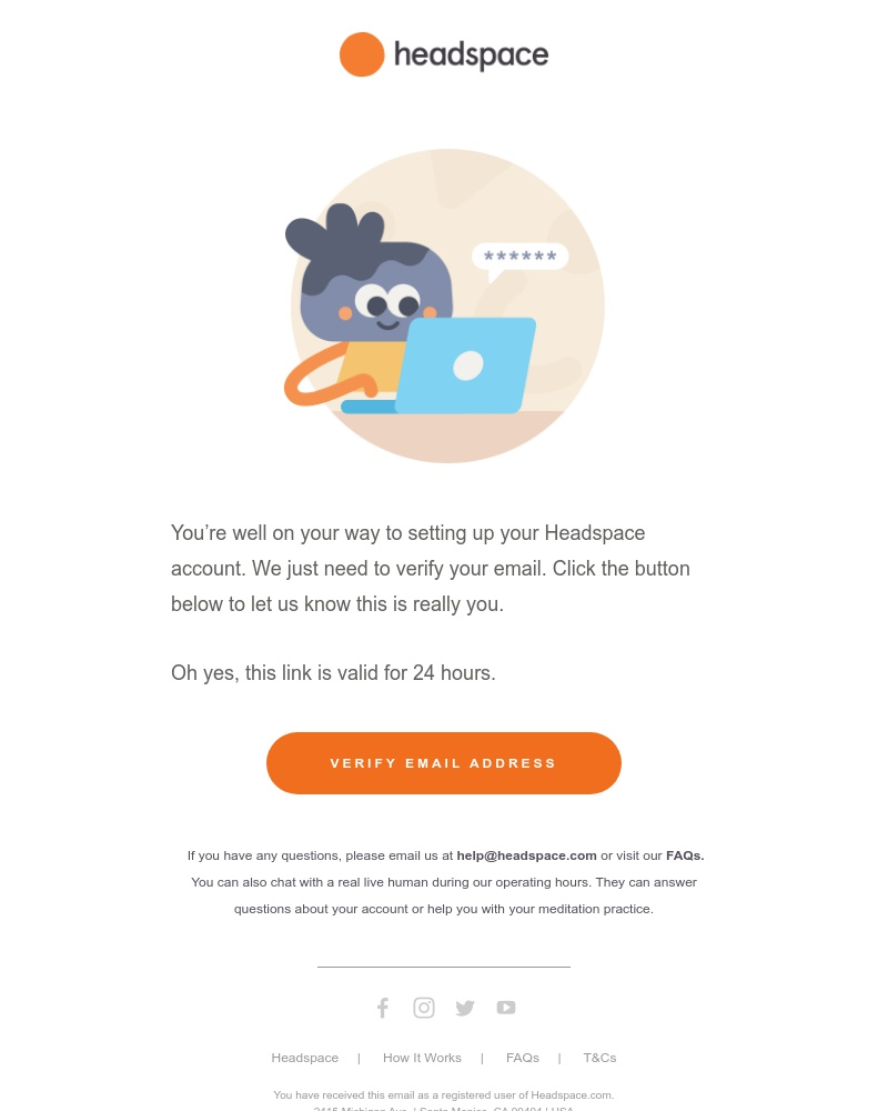 Screenshot of email sent to a Headspace Registered user