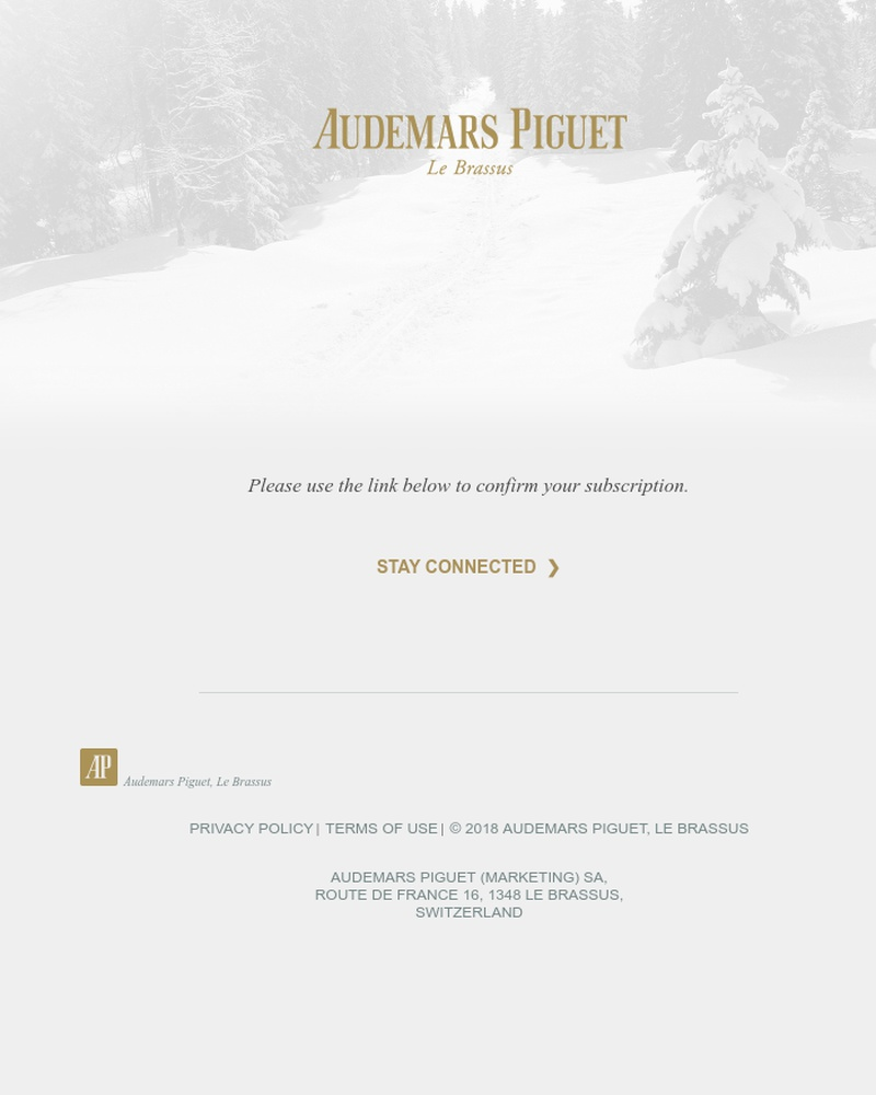 Screenshot of email sent to a Audemars Piguet Newsletter subscriber