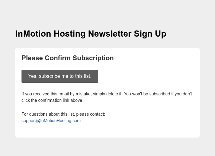 Screenshot of email sent to a InMotion Hosting Newsletter subscriber