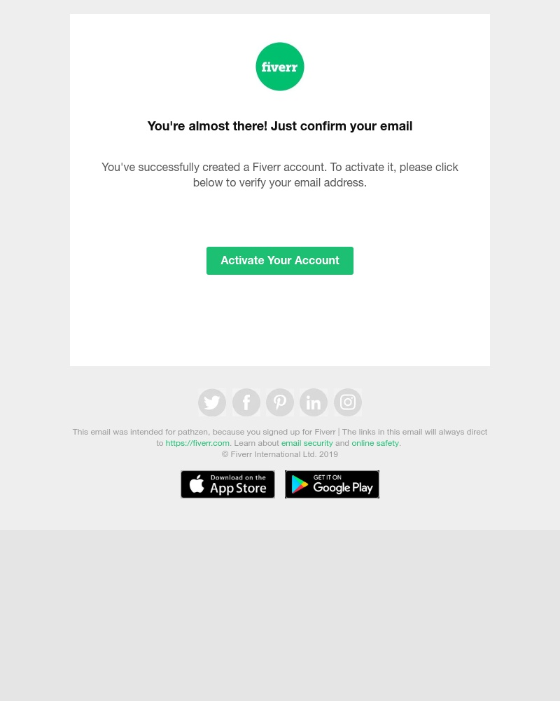 Screenshot of email sent to a Fiverr Customer