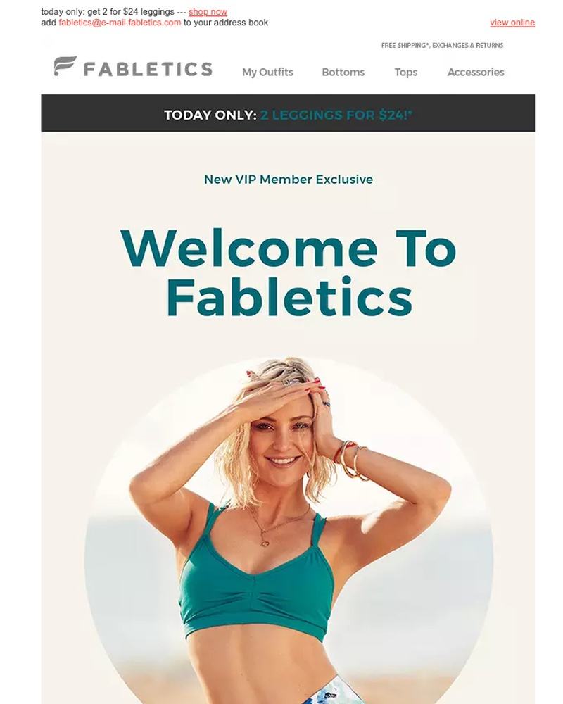 Screenshot of email sent to a Fabletics Registered user