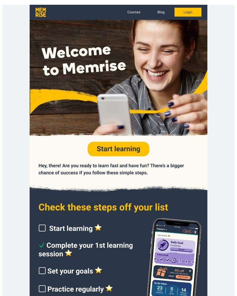 Screenshot of email sent to a Memrise Registered user