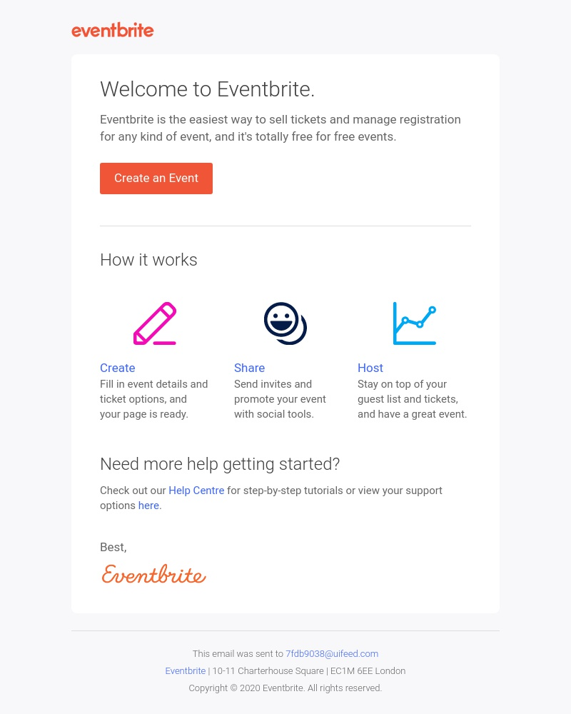 Screenshot of email sent to a Eventbrite Registered user