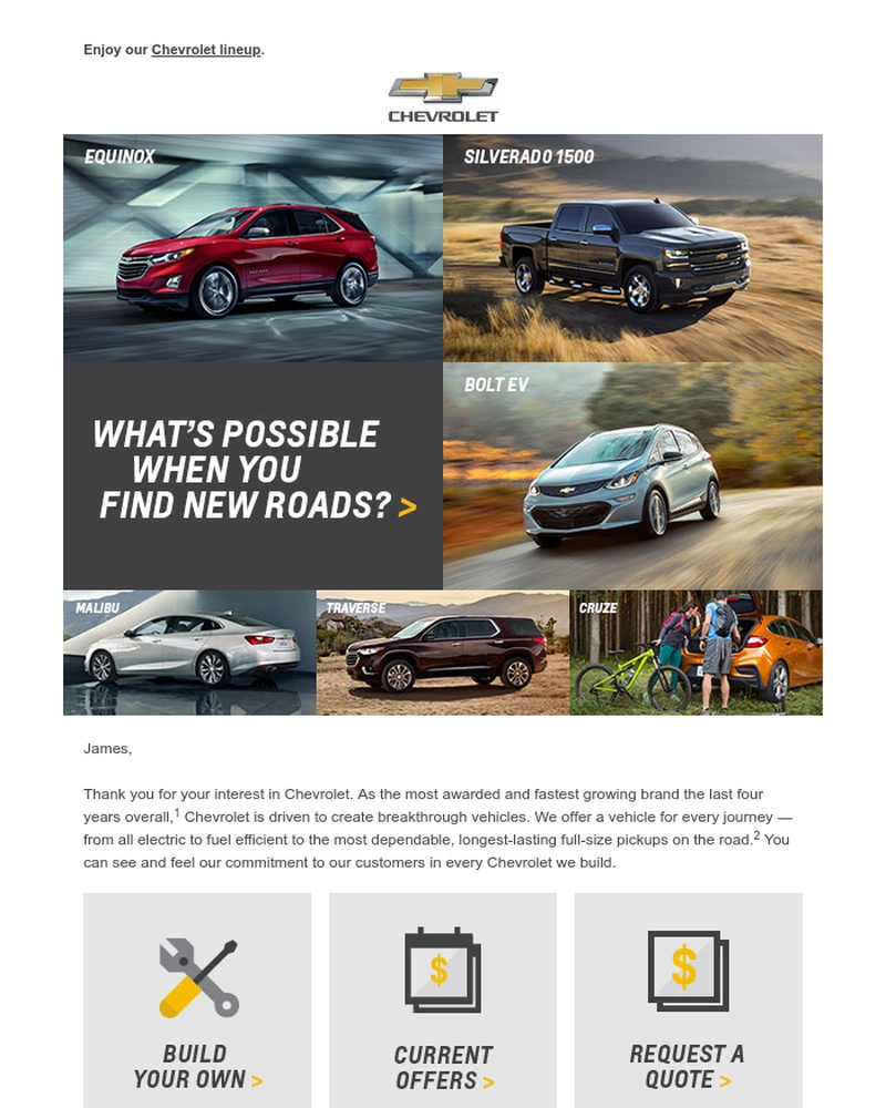 Screenshot of email sent to a Chevrolet Newsletter subscriber