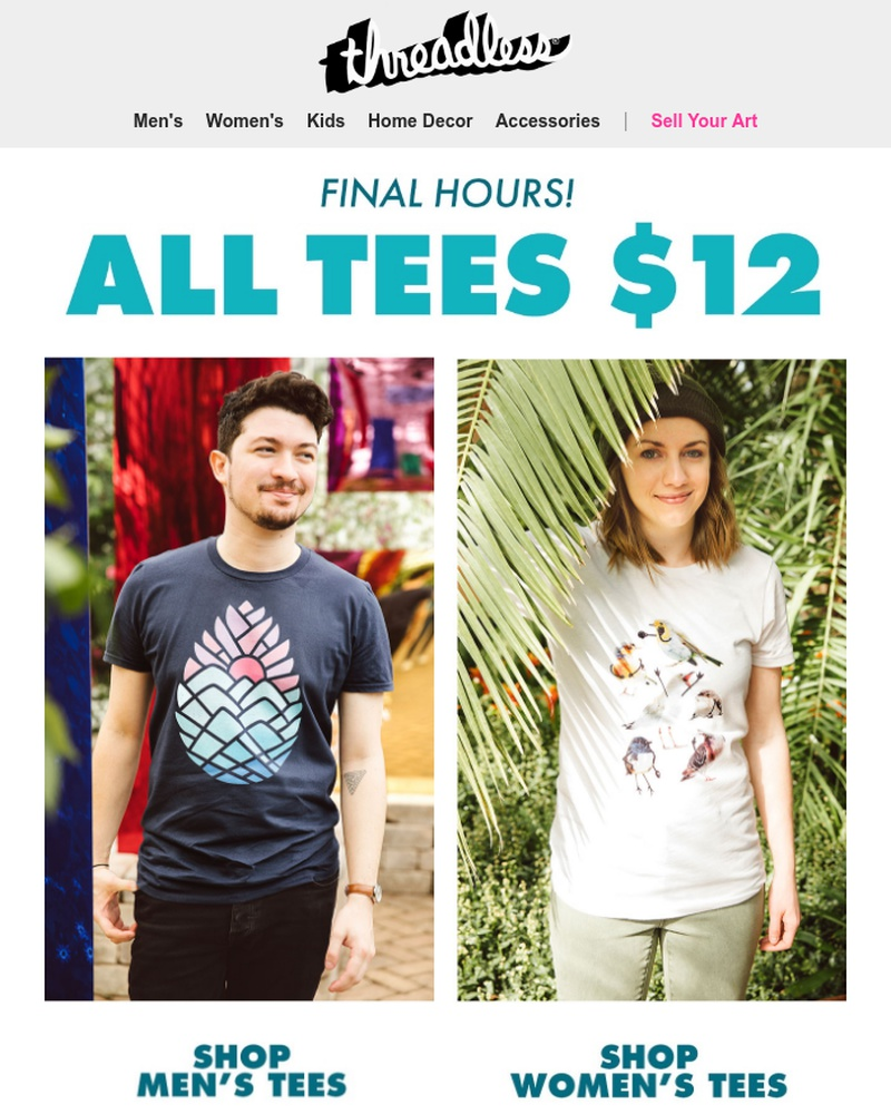 Screenshot of email sent to a Threadless Newsletter subscriber