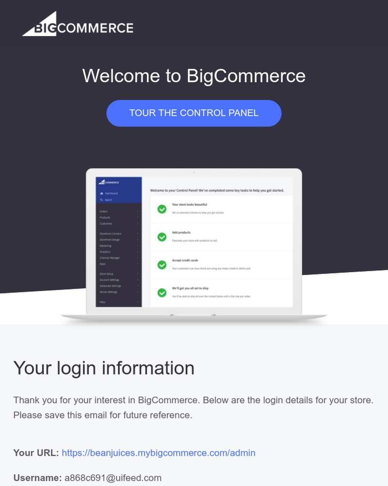 Screenshot of email sent to a BigCommerce Trial user