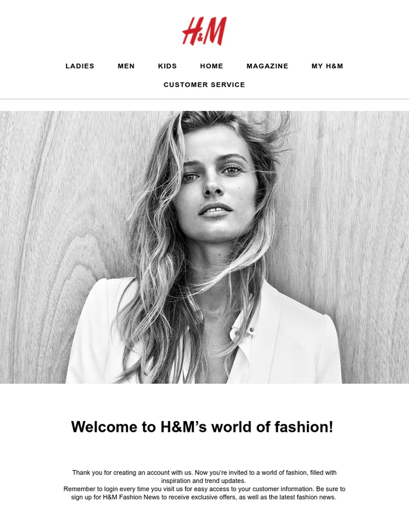 Screenshot of email sent to a H&M Newsletter subscriber