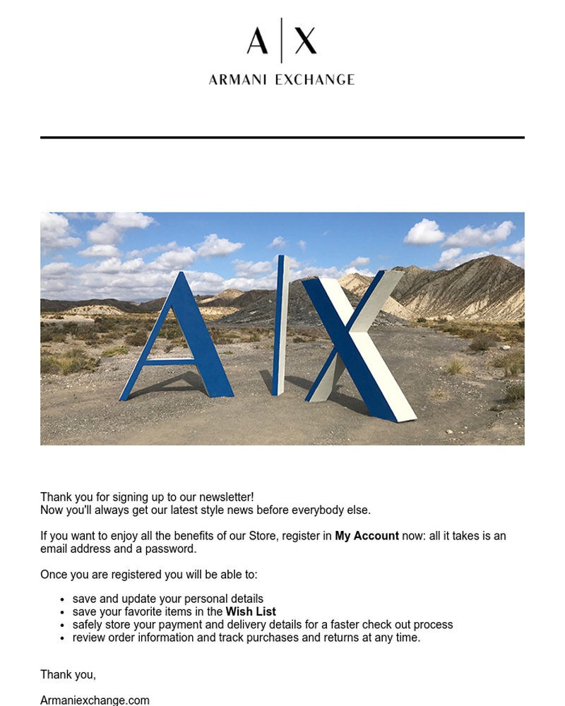Screenshot of email sent to a Armani Exchange Newsletter subscriber