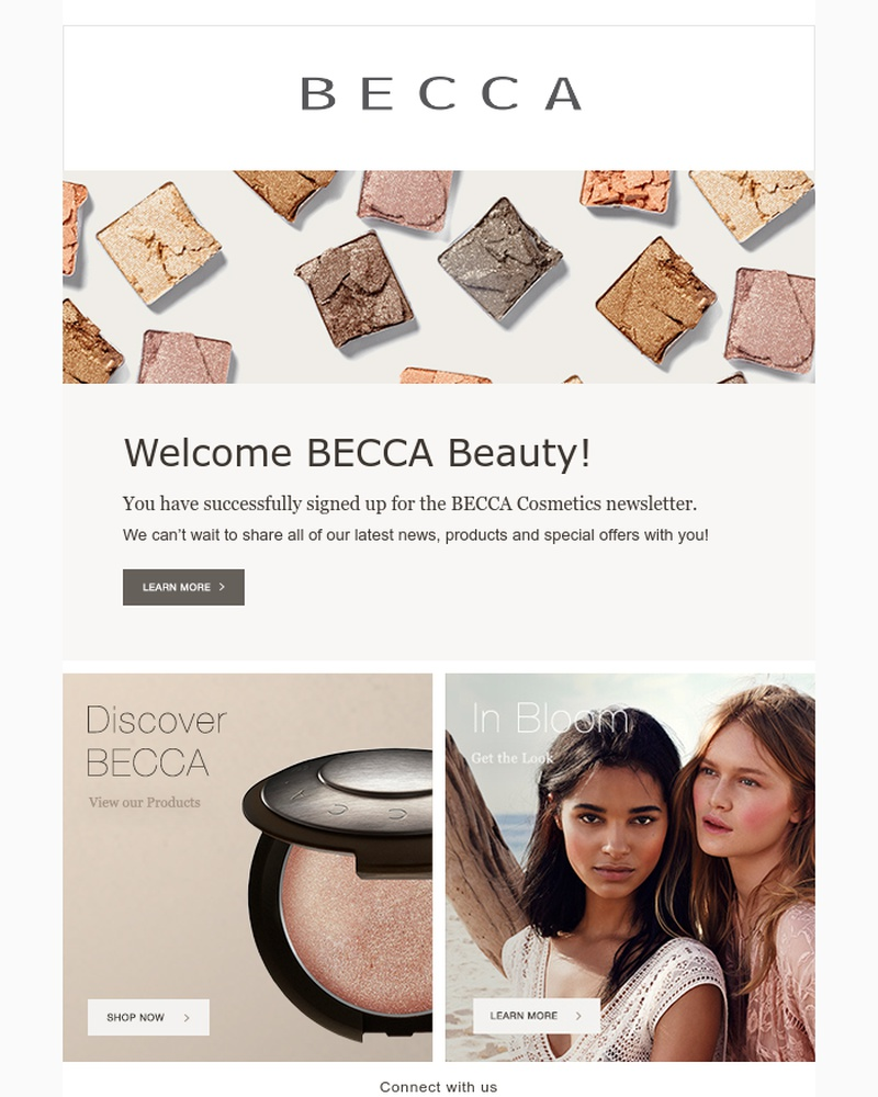 Screenshot of email sent to a BECCA Cosmetics Newsletter subscriber