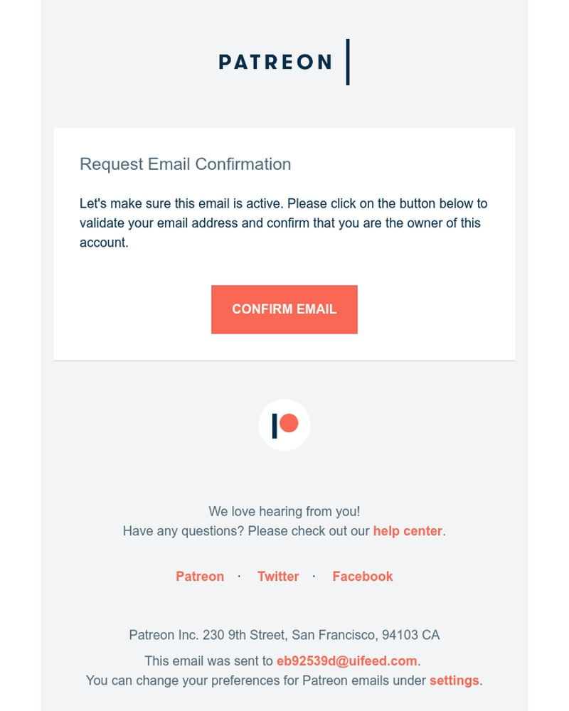 Screenshot of email sent to a Patreon Creator