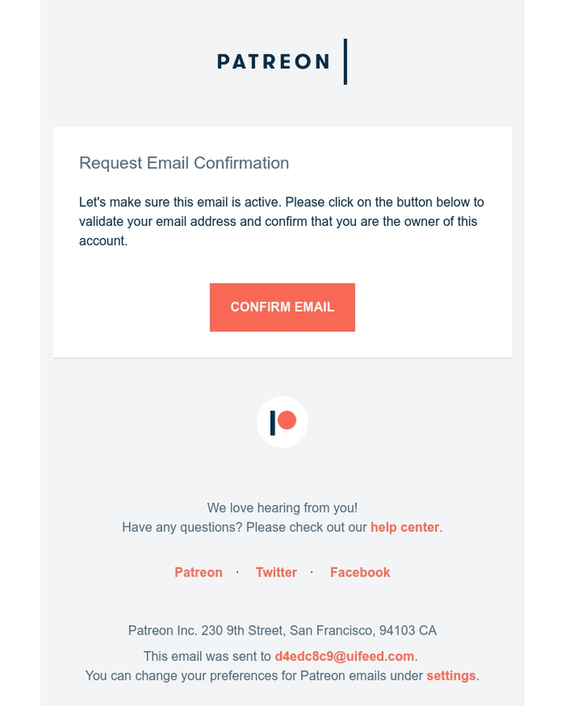 Screenshot of email sent to a Patreon Donor