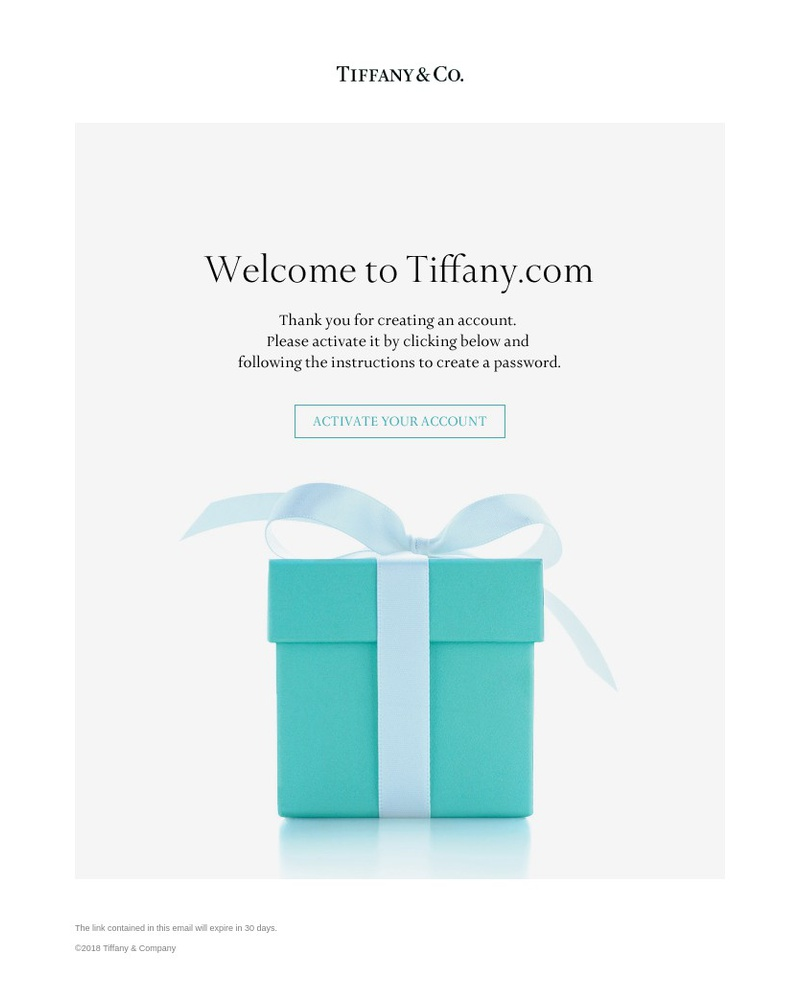 Screenshot of email sent to a Tiffany & Co Newsletter subscriber