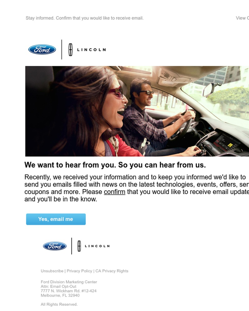 Screenshot of email sent to a Ford Newsletter subscriber