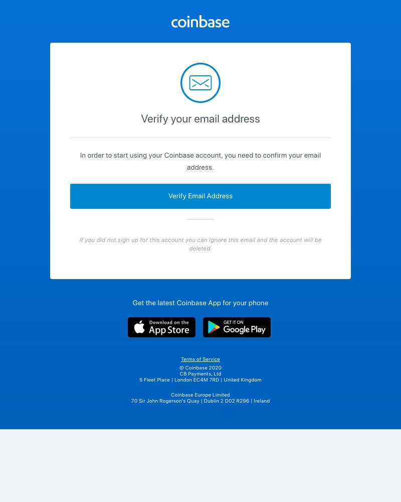 Screenshot of email sent to a Coinbase Registered user