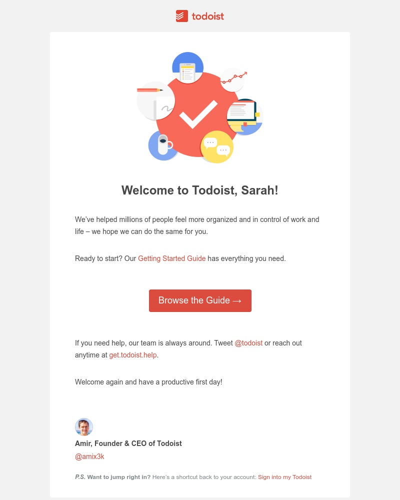 Screenshot of email sent to a Todoist Registered user