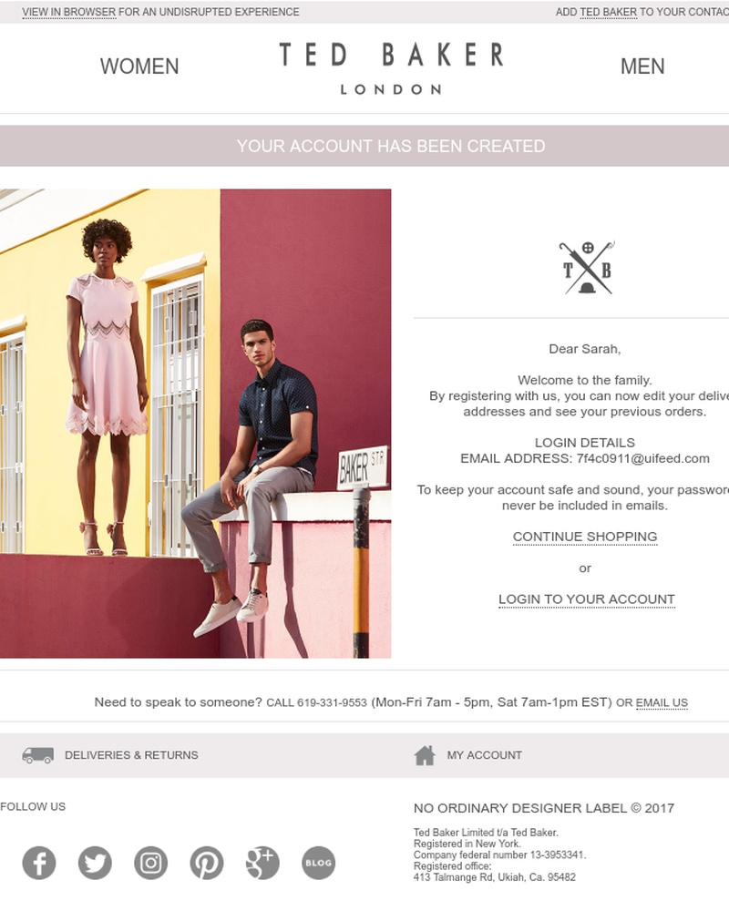 Screenshot of email sent to a Ted Baker Newsletter subscriber