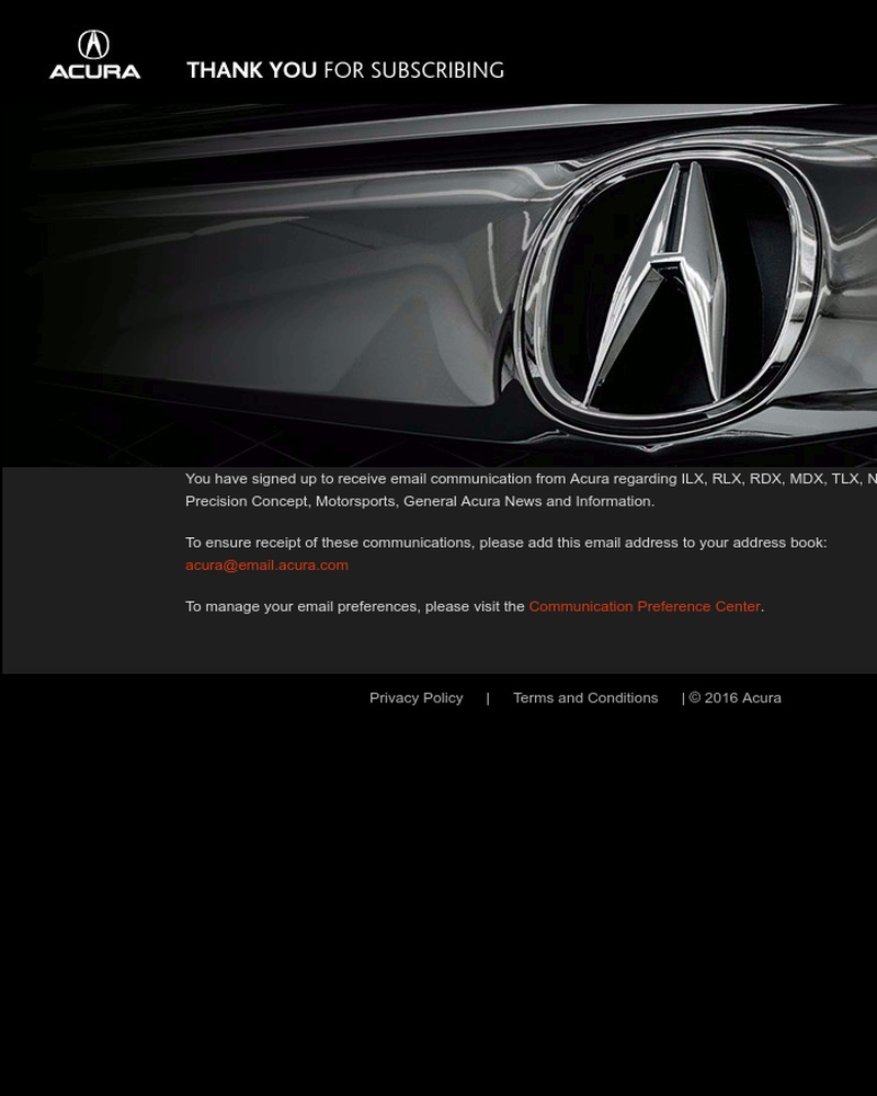 Screenshot of email sent to a Acura Newsletter subscriber