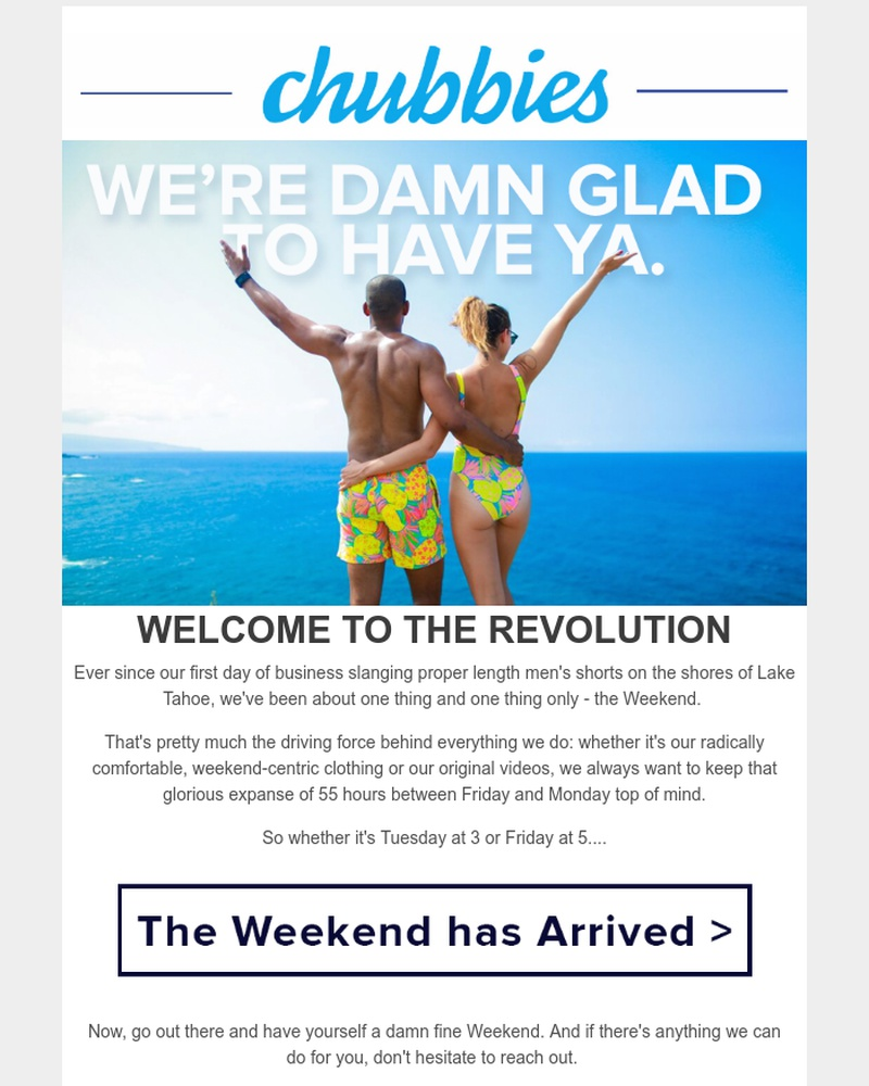 Screenshot of email sent to a Chubbies Newsletter subscriber