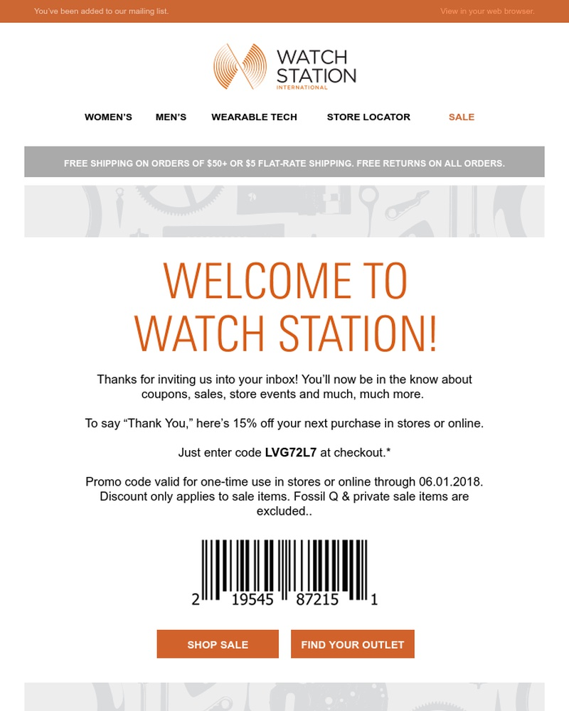 Screenshot of email sent to a Watch Station Newsletter subscriber