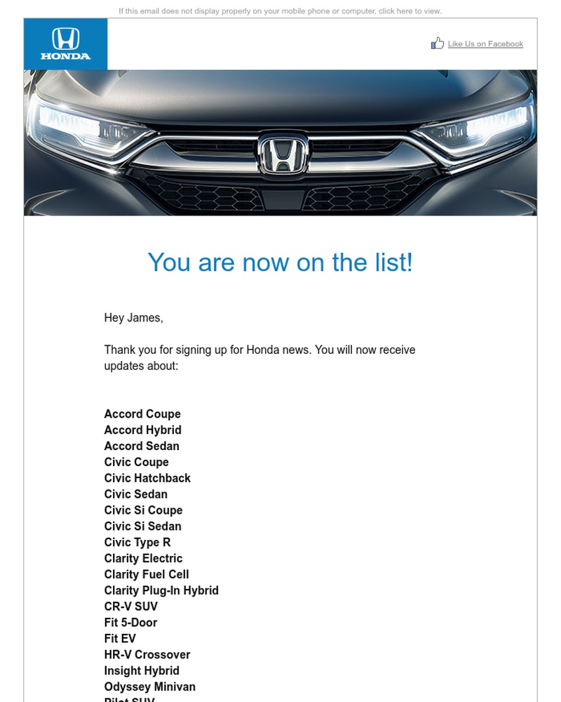 Screenshot of email sent to a Honda Newsletter subscriber