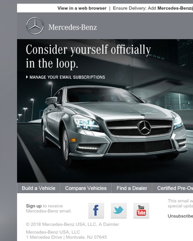 Screenshot of email sent to a Mercedes-Benz Newsletter subscriber
