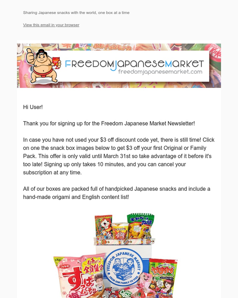 Screenshot of email sent to a Freedom Japanese Market Newsletter subscriber