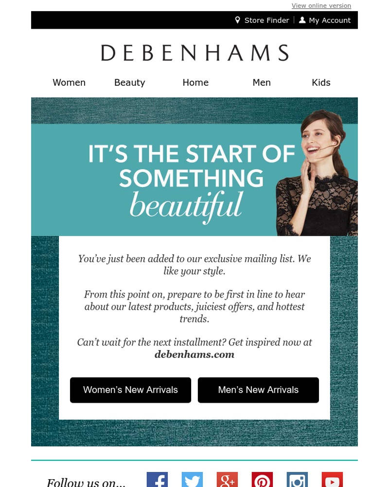 Screenshot of email sent to a Debenhams Newsletter subscriber