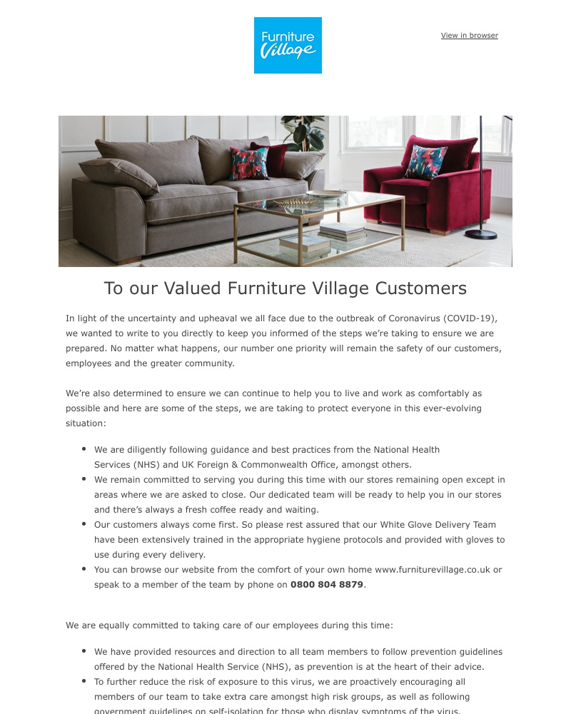 Screenshot of email sent to a Furniture Village Cart abandoner