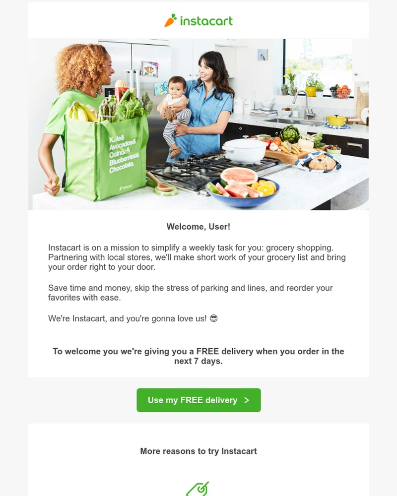 Screenshot of email sent to a Instacart Registered user