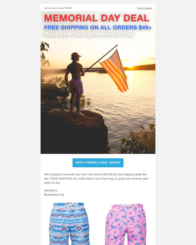 Screenshot of email sent to a Bearbottom Clothing Newsletter subscriber