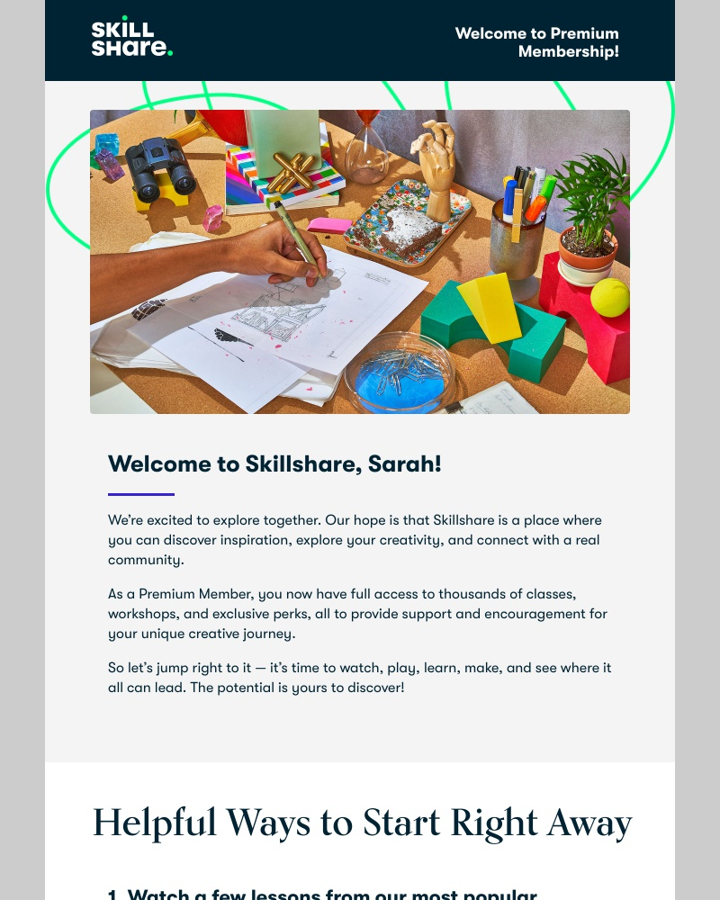 Screenshot of email sent to a Skillshare Registered user