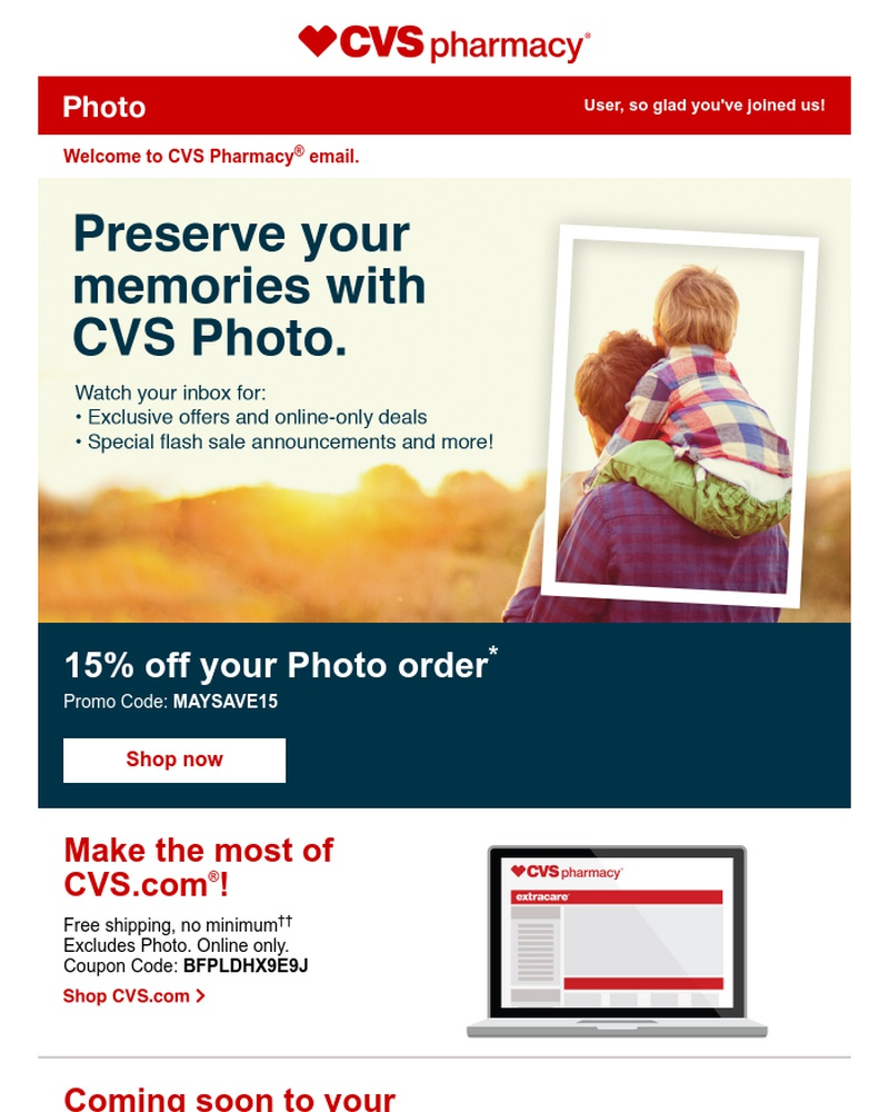 Screenshot of email sent to a CVS Newsletter subscriber