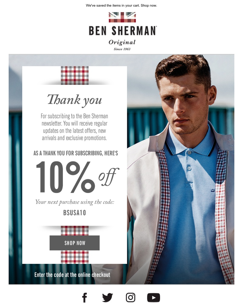 Screenshot of email sent to a Ben Sherman Newsletter subscriber