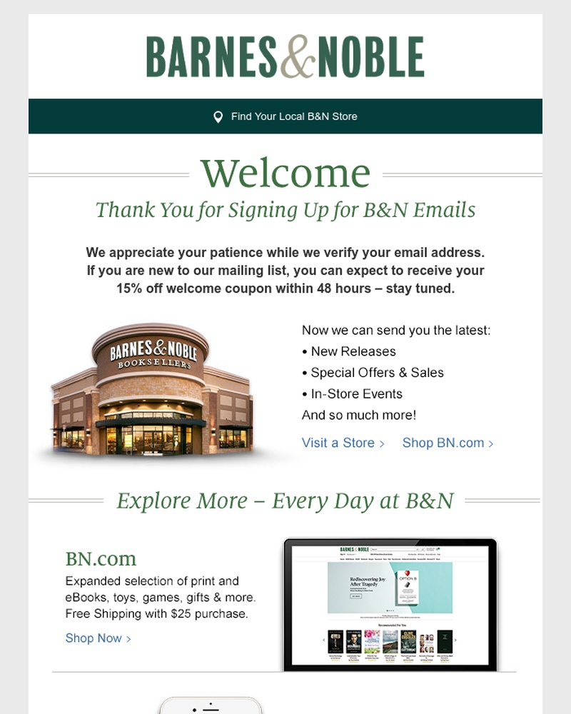 Screenshot of email sent to a Barnes and Noble Newsletter subscriber
