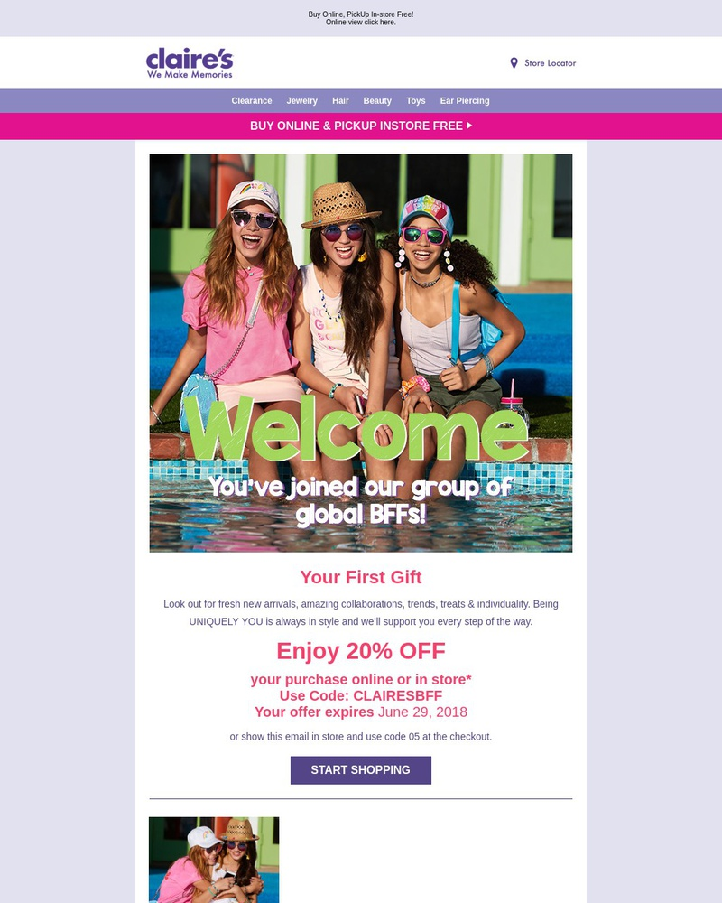 Screenshot of email sent to a Claire's Newsletter subscriber